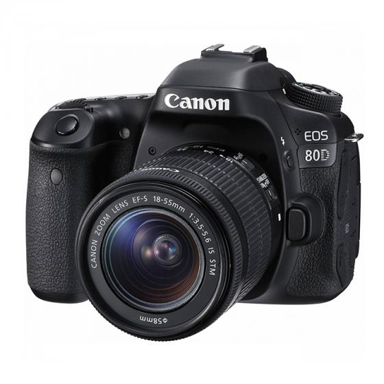 Canon EOS 80D Digital SLR Camera with 18-55 mm IS STM Lens Body, 18-55 mm Lens - Black