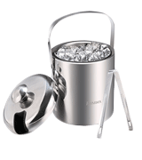 Sailnovo Stainless Steel Double Wall Ice Bucket with Tongs and lids