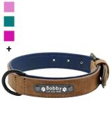Didog Soft Leather Padded Dog Collar with Personalized Nameplate