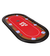 Riverboat Gaming RT100RED Champion Folding Poker Table Top in Red Speed Cloth and Faux Leather Armrest 180cm