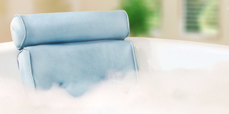 Blue Coast Collection BCC-001 Bath Pillow for Tub with 4 Strong Suction Cups in the use