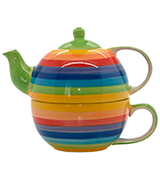Windhorse Rainbow Striped Ceramic Tea for One Set