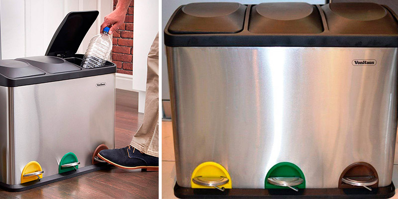Review of VonHaus 3 x 15 L Pedal Recycling Bin for Kitchen Waste