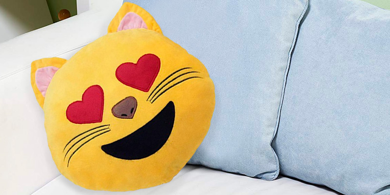 Review of Desire Deluxe Smile Emoticon Heart Eye Cat Smile Cushion Yellow Round Cushion Pillow