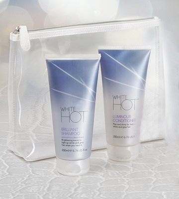 Review of White Hot Brilliant Shampoo lights up white & grey hair, banishes brassy tones, purple shampoo