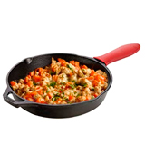 Natural Cookware 12 inch Cast Iron Round Skillet Red Silicon Handle Included