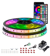 Mexllex 15M Music Sync Colour Changing RGB LED Strip 44-Key Remote