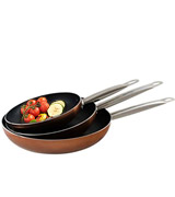 VonShef Q1982 Set of 3 Copper Frying Pan