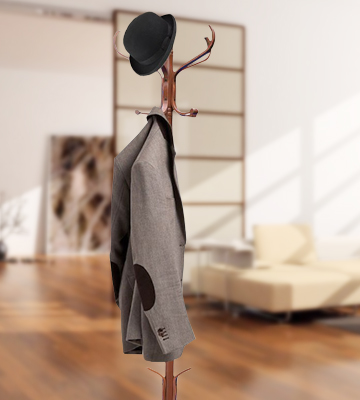 Review of Home Discount Wooden Walnut Finish Floor Standing Coat Rack