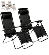 SUNMER (SNM-BK) Set of 2 Folding Recliner Zero Gravity Outdoor Chairs