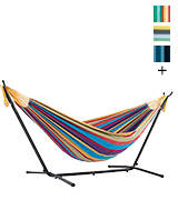 Vivere UHSDO8-20 Double Cotton Hammock with Space-Saving Steel Stand