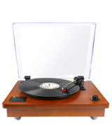 1byone 471UK-0002 Vintage Style Bluetooth Turntable, Natural Wood
