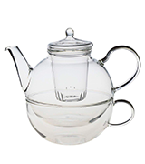 Argon Tableware AT-PP412 Glass Tea-For-One Tea Pot, Cup and Strainer Set