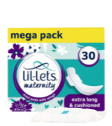 Lil-Lets 30Pcs Extra Long Maxi Thick Maternity Pads with Wings