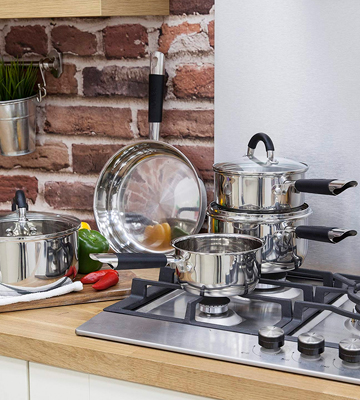 Review of Tower Essentials 5-Piece Pan Set with Silicone Handles, Stainless Steel