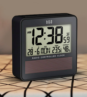 Review of HITO c8374 Travel Alarm Clock w/ Temperature Humidity. Battery Operated w/ Solar Panel