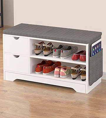 Review of Vanimeu White 2 Drawers Storage Bench Shoe Rack with Drawer and Seat Cushion