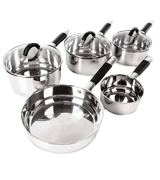 Tower Essentials 5-Piece Pan Set with Silicone Handles, Stainless Steel