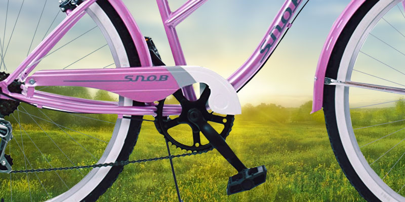 AMMACO PINK / WHITE Cruiser Bike in the use