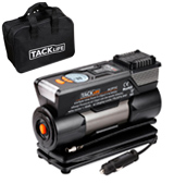 TACKLIFE ACP1C Preset Air Compressor Pump, 12V Tyre Pump with Larger Air Flow 40L/Min, 4 Nozzle Adaptors , 3 Mode LED Light, Extra Fuse and Progress Display (Robust Carry Case Included)