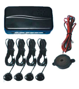 BV & Jo Black Rear Car Parking Reversing with 4 Sensor Buzzer Mini box Kit
