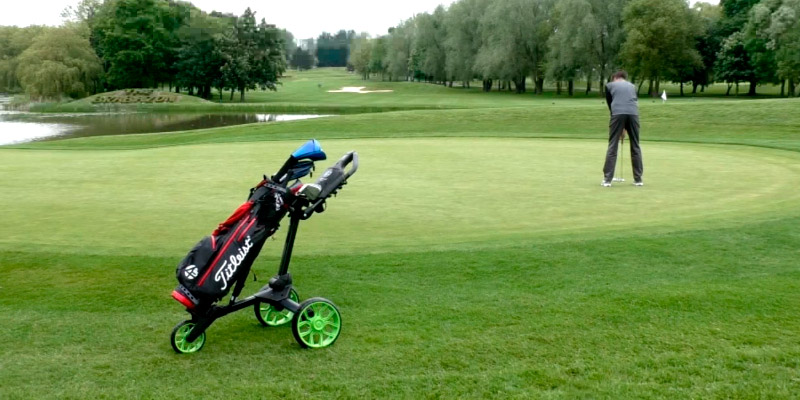 Stewart Golf R1S-BLK-BLU R1-s Push Trolley in the use