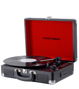 MUSITREND USB Bluetooth Turntable Portable Suitcase, Black