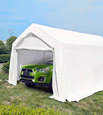 Review of KMS FoxHunter Heavy Duty Waterproof 3m x 6m Carport Party Tent Canopy White 180g Polyester Steel Frame