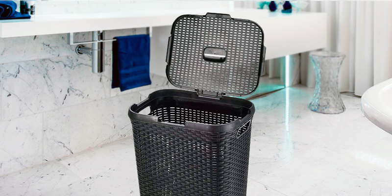 Review of ARPAN Plastic Laundry Basket Hamper Storage Rattan-Look with Lid & Insert Handles