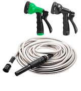 HIGH GRAND 100FT Stainless Steel Garden Hose With Free Nozzle