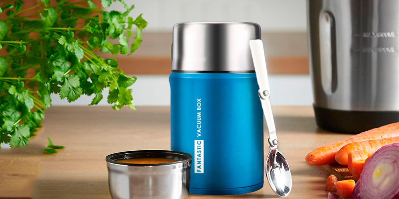 Review of WisFox Insulated 304 StainlessSteel Food Flask with Folding Spoon Storage Bag