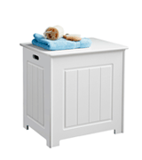 MS INTL WHITE WOOD BASKET LAUNDRY BIN NEW STORAGE CHEST CABINET