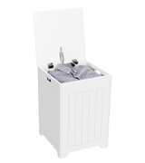 Yaheetech White Wooden Laundry Bin Basket Storage Simple Assembly Large Square