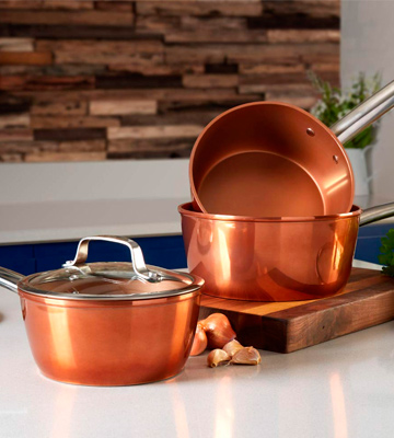 Review of Tower Set of 3 Copper Effect, Forged Aluminium Induction Pan