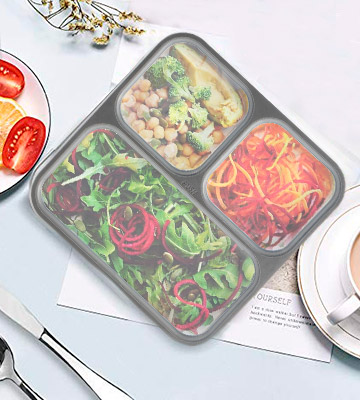 Review of Modetro Bento Lunch Box 3 Portion Control Leak Proof Compartments