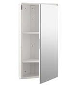 Roman at Home Corner Bathroom Cabinet White Gloss Wall Hung Single Mirrored Door