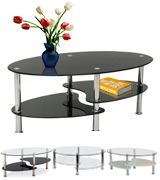 Home Discount Cara Black Glass Coffee Table