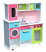 LEKEEZ Modern Large Kids Girls Multicolored Gourmet Wooden Kitchen