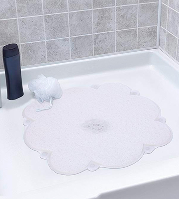 Review of mayshine Loofah Shower mat 8 Big Suction Cups Non-slip,mildew resistant and Phthalate Free