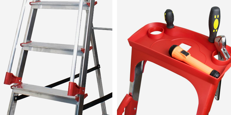Review of Abbey Ladders DSPS7T Aluminium Safety Platform Step Ladder With Handrail & Tool Tray 7 Tread