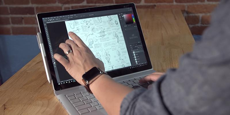 Microsoft Surface Book Touchscreen Laptop in the use