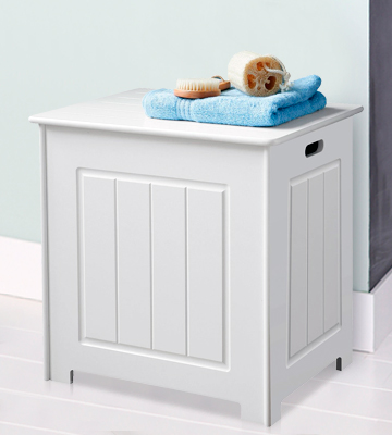 Review of MS INTL WHITE WOOD BASKET LAUNDRY BIN NEW STORAGE CHEST CABINET