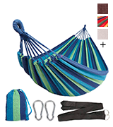 Anyoo AY-Stripe Outdoor Cotton Hammock Portable with Carrying Bag