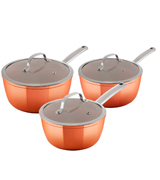 Tower Set of 3 Copper Effect, Forged Aluminium Induction Pan