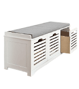 SoBuy FSR23-W Storage Bench with 3 Drawers & Removable Seat Cushion