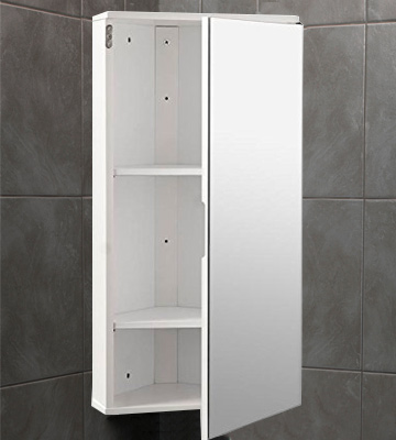Review of Roman at Home Corner Bathroom Cabinet White Gloss Wall Hung Single Mirrored Door