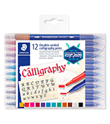 Staedtler Calligraphy Pen Double-Ended Pack of 12 Assorted Colours