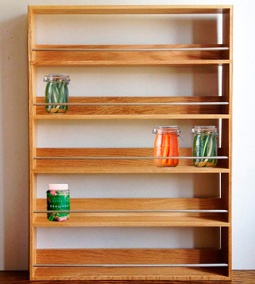 Review of SilverAppleWood 5 Tiers 60 Jars Solid Oak Spice Rack