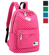 S-ZONE D04V400C Lightweight Casual Daypack Canvas Polka Dot Backpack
