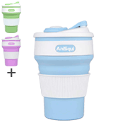 AniSqui Collapsible Coffee Cup Silicone with Lids